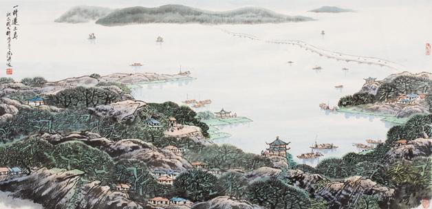 范保文作品《一桥连三岛》欣赏