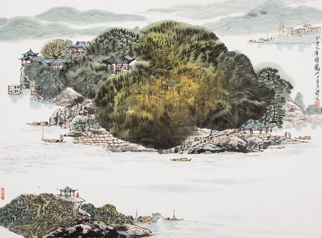 范保文作品《小舟入岸傍鹤山》欣赏