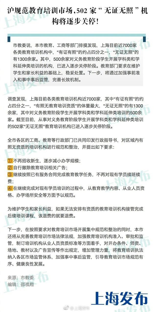 """上海502家""""无证无照""""教育培训机构将逐步关停"""